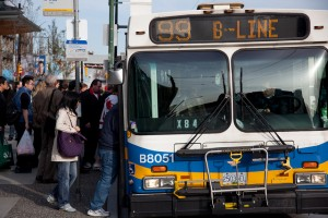 people loading on 99 B line in Vancouver